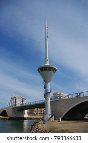 Drawbridge with a control tower in La Manga (Spain)