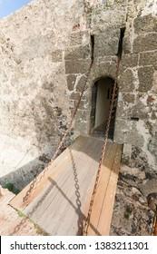 Drawbridge at the entrance of Castillo de Santa Barbara, Teguise, Lanzarote.
