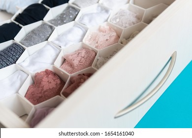 Drawer with honeycomb organizer for decluttering
