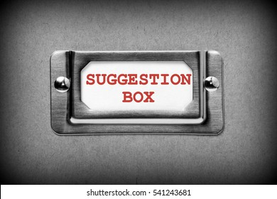Drawer label with the words Suggestion Box in red text to provide a method of feedback from your customers