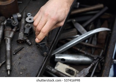 Drawer mechanics, workshop tools.