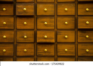Drawers full of chinese herbal medicine in a pharmacy