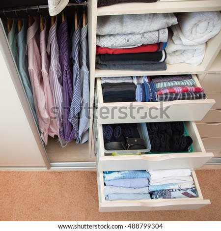 Drawers Mens Clothes Closet Mens Clothing Stock Photo Edit Now
