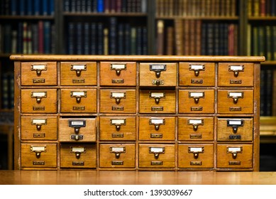 Drawers to search for book records in the library.