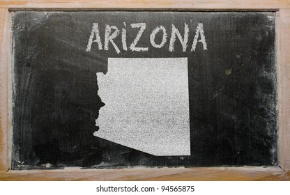 drawing of american state of arizona on chalkboard, drawn by chalk