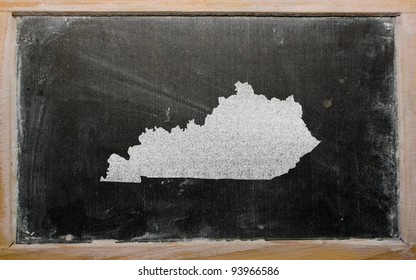 drawing of american state of kentucky on chalkboard, drawn by chalk