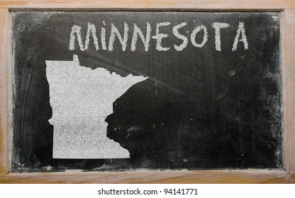 drawing of american state of minnesota on chalkboard, drawn by chalk