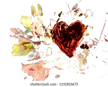 Drawing artistic. Bright red heart painted with paint, palette knife. With the inscriptions I Love you. Art work drawing on the topic of Love, family.