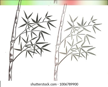 Drawing Bamboo stems with leaf, decoration series for card with pen line, illustration abstract with nature garden, Japanese style, with space for text.