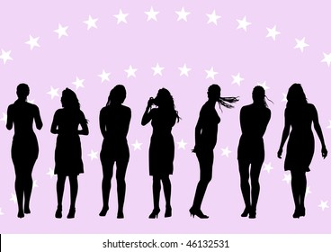 drawing of beautiful young women. Silhouettes on rose background