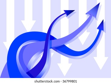 drawing blue arrows, woven together