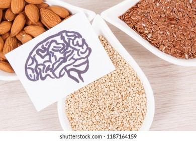 Drawing of brain and healthy food for power and good memory, nutritious eating containing natural vitamins and minerals