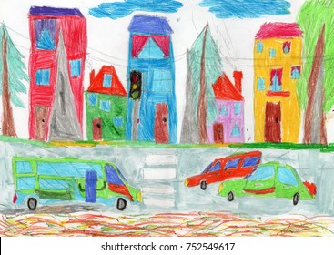 Drawing of the buildings and cars.