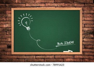 Drawing of a bulb idea green blackboard  on wall background.