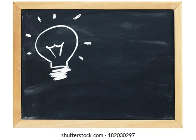Drawing of a bulb idea on blackboard with wooden frame