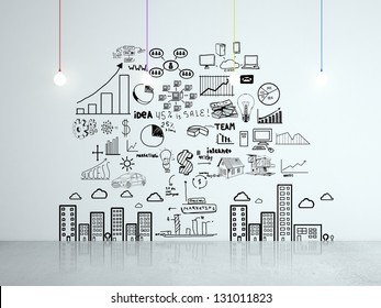 drawing business concept on wall in room