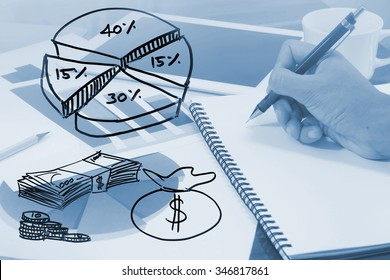 Drawing of Business graph analysis report and calculator. Accounting ,Information Technology,Banking and Finance,Market Share