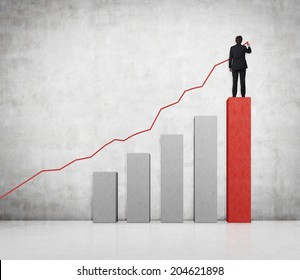Drawing businessman a line graph and a bar chart. Both symbolize a business growth.