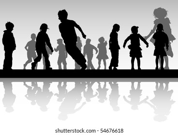 drawing child in motion. Silhouette on white background