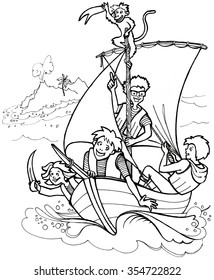 drawing children playing pirate with a monkey on a sailing boat.