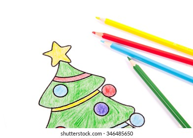 Drawing of a Christmas tree with colorful crayons