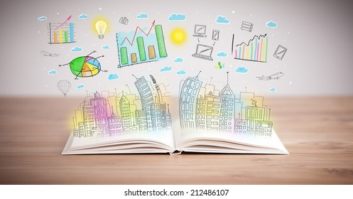 drawing of a colorful business scheme on an opened book