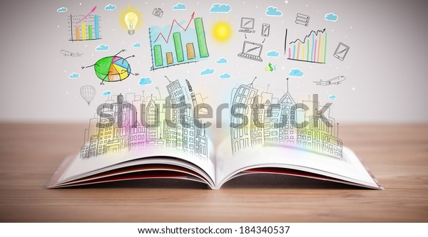 Drawing Colorful Business Scheme On Opened Stock Photo