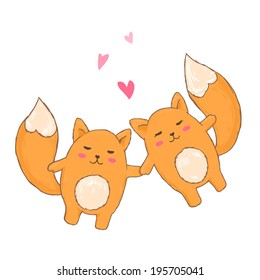 Drawing cute foxes together in love