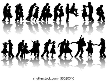 drawing dancing couples. Silhouettes on white background