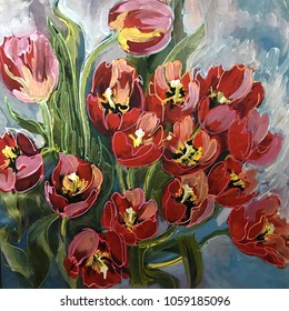 Drawing of decorative tulips red yellow flower bouquet. Picture contains an interesting idea, evokes emotions, aesthetic pleasure. Oil natural paints. Concept classic art painting textural multicolour