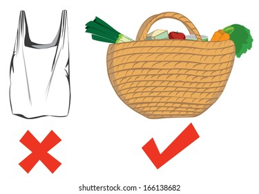 Drawing depicting choice of reusable bags over plastic bags