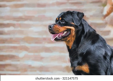 Drawing of the dog rottweiler, tricolor, portrait on a color background