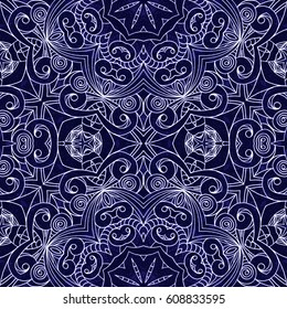 Drawing Floral Doodle G1, Doodle creativity drawing, Floral abstract background, Pattern for adult coloring book. Ethnic, floral, retro, doodle, tribal design element. Blue and white background