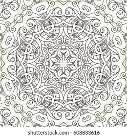 Drawing Floral Doodle G2 creativity drawing, Floral abstract background, Pattern for adult coloring book. Ethnic, floral, retro, doodle, tribal design element. Black and white background