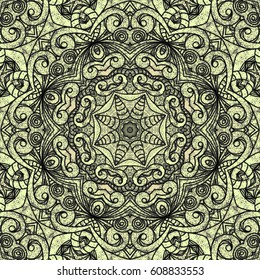 Drawing Floral Doodle G205 creativity drawing, Floral abstract background, Pattern for adult coloring book. Ethnic, floral, retro, doodle, tribal design element. Gold and black background