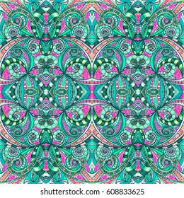 Drawing Floral Doodle G208 creativity drawing, Floral abstract background, Pattern for adult coloring book. Ethnic, floral, retro, doodle, tribal design element. Colorful background