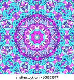 Drawing Floral Doodle G5 creativity drawing, Floral abstract background, Pattern for adult coloring book. Ethnic, floral, retro, doodle, tribal design element. Colorful background