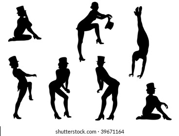 drawing girls from the cabaret during the speech. Silhouette on white background girls from the cabaret