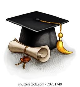Drawing of graduation cap and diploma