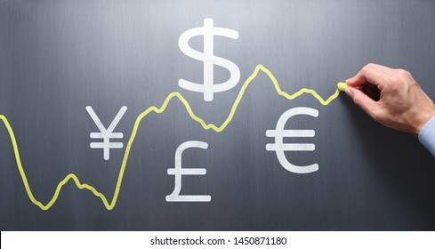 Drawing graph of exchange rate on chalkboard. Exchange rate fluctuations concept.