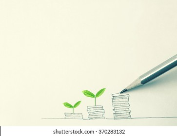 """drawing """" growing plant on row of coin money with pencil """" for money concept"""