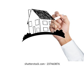drawing a growing real estate chart.