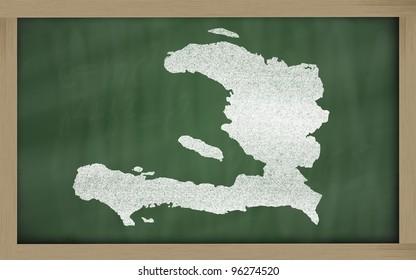 drawing of haiti on blackboard, drawn by chalk