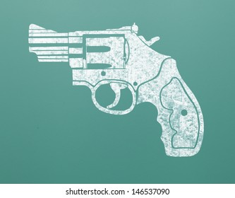 Drawing of Hand Gun on Green Chalk Board.