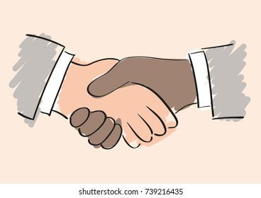 Drawing of handshake. Symbol of friendship partnership and cooperation of people and companies