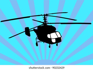 drawing a helicopter in sky