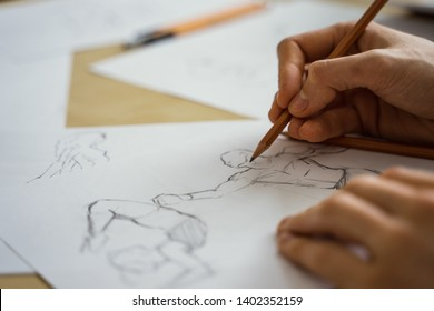Drawing the human figure with a pencil. Sketching