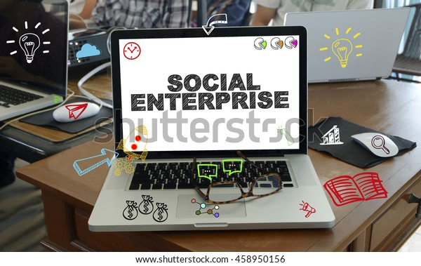 drawing icon cartoon with SOCIAL ENTERPRISE  concept on laptop in the office , business concept