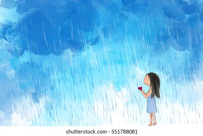 Drawing Illustration Of Lonely Girl Holding Heart Making Wish In Raining  Sky. Idea Of Valentine