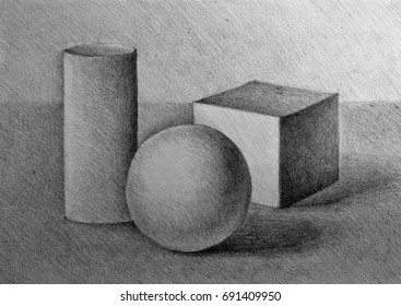 Drawing illustration of still life with simple geometric shapes